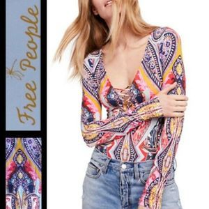New Free People Pick A Place Bodysuit Top